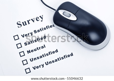 Survey, questionnaire and computer mouse, business concept