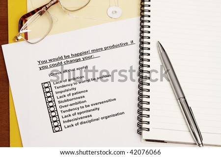 Survey Training Materials concept - with envelop and eyeglass - stock photo