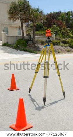 surveyor instrument at construction site along the east coast of florida usa