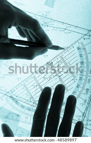 surveyor's plan and hands with a pencil, monochromatic blue