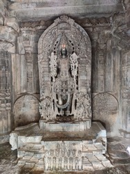 Surya (Sun god) at Hoysaleswara Temple, Halebidu, Hassan District of Karnataka state, India. The temple was built in 12th century rule of Hoysala Empire.
