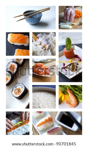 Sushi and Asian cuisine in a restaurant