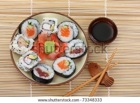 sushi and chopsticks close-up