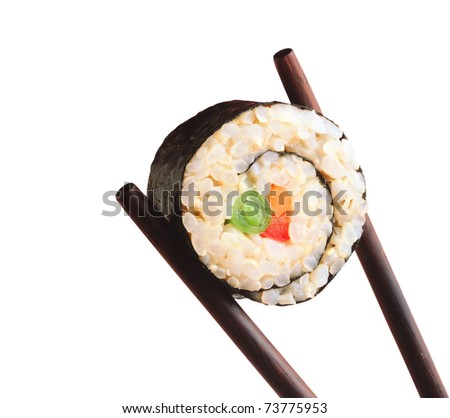 Sushi and Chopsticks isolated on a white background