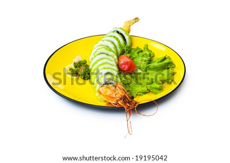Sushi and crab isolated on the white background