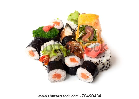 Sushi and rolls on a white background