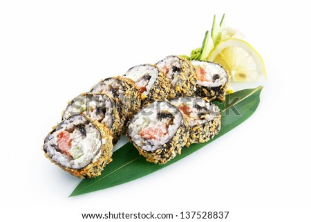 Sushi Banzai with delicious ingredients isolated on white background