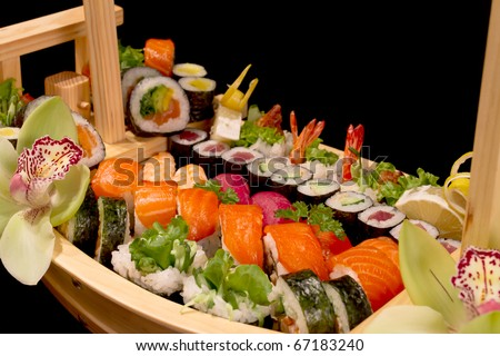 sushi boat - stock photo