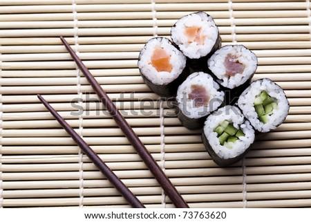 Sushi close up, Traditional japanese food