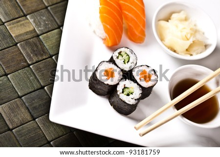 Sushi collection on the shite plate