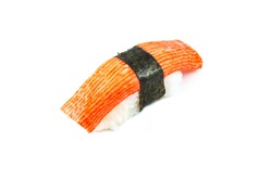 Sushi crab stick (kani nigiri) on white background
