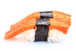 Sushi crab stick on white background