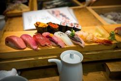 Sushi from Tsukiji Fish Market in Tokyo, Japan