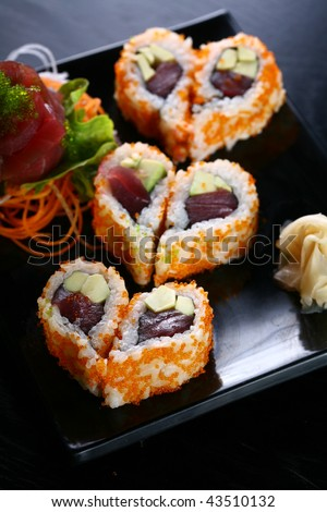 sushi heart shaped