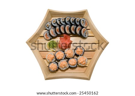 sushi in wood plate on white background