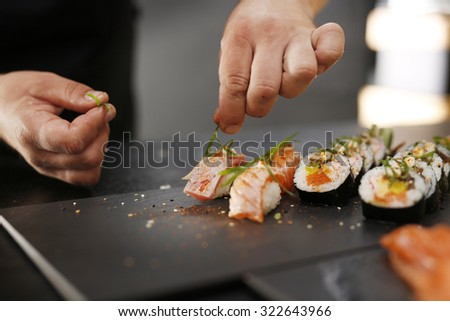 Sushi menu.Classic Japanese sushi served on a stone plate