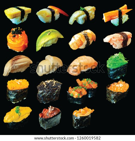 Sushi Menu in Japanese food is popular among eaters around the world. It is also a symbol of the culture of Japan. The main raw materials are rice and fish. This Picture include Clipping Path.