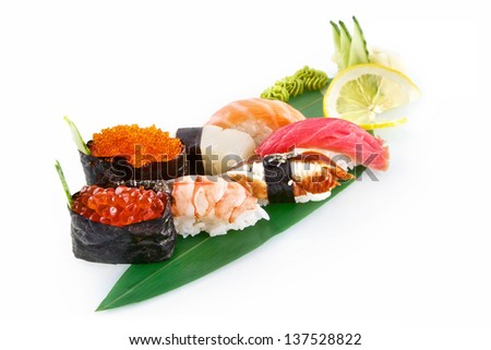 Sushi Nigiri with delicious ingredients isolated on white background