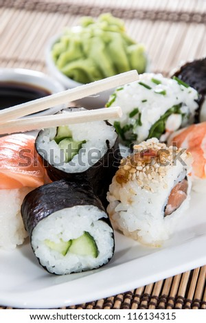 Sushi on a plate (macro shot)