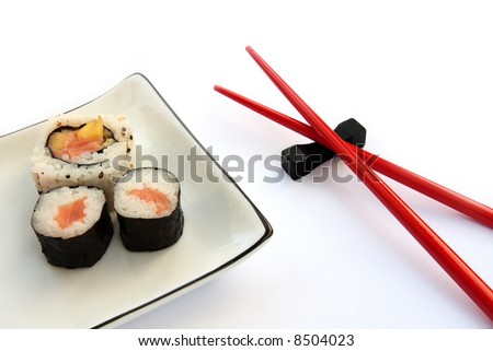 Sushi on a plate with chopsticks isolated on a white background