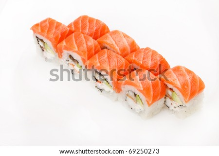 sushi on the white