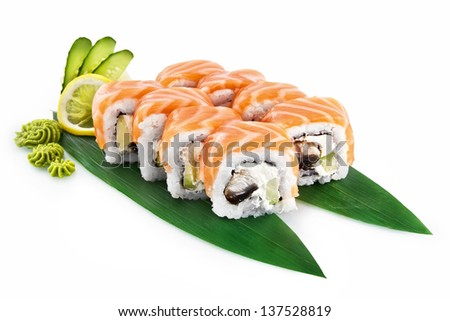 Sushi Philadelphia with delicious ingredients isolated on white background