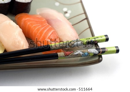 Sushi plate close up - stock photo