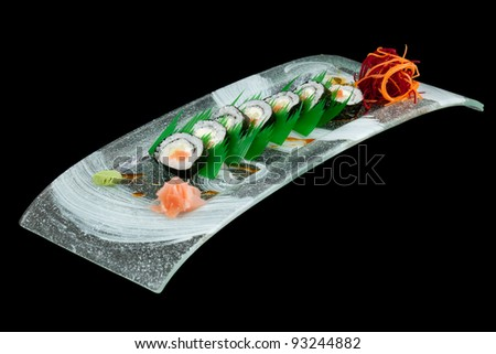 SUSHI PLATE ISOLATED ON BLACK, STUDIO SHOT