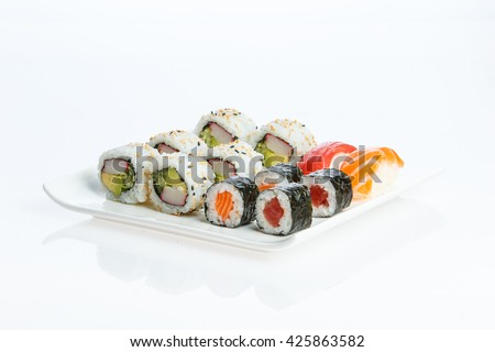 Sushi plate on white background