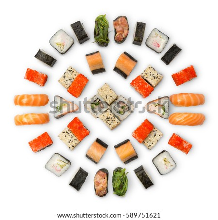 Sushi platter isolated on white background. Japanese food restaurant delivery - maki california rolls big party set, top view