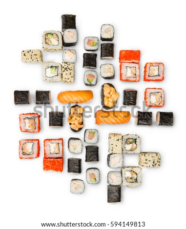 Sushi platter isolated on white background. Japanese food restaurant delivery - maki, salmon and caviar california rolls big party set, top view