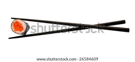 Sushi roll and black chopsticks isolated on white background - stock photo