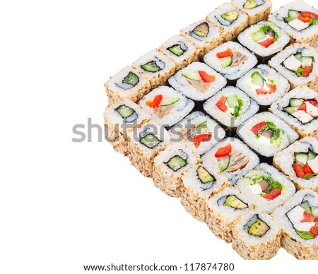 sushi roll big set with different components over white