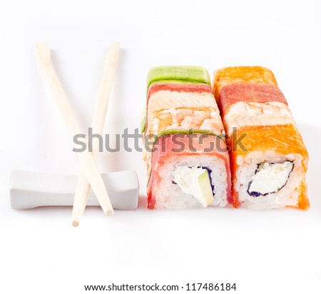 sushi roll collection with royal shrimp, bacon, cucumber and salmon