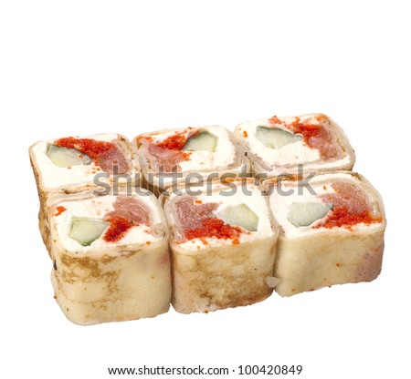 sushi roll isolated on white with pancake and caviar