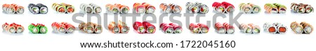 Sushi Roll - Maki with Salmon Roe, Smoked Eel, Cucumber, Cream Cheese, Sesame, Avocado, Onion Fries, Crab Meat, Tobiko isolated on white background, sushi rolls collection in high resolution