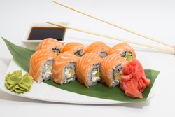 Sushi roll on a plate
