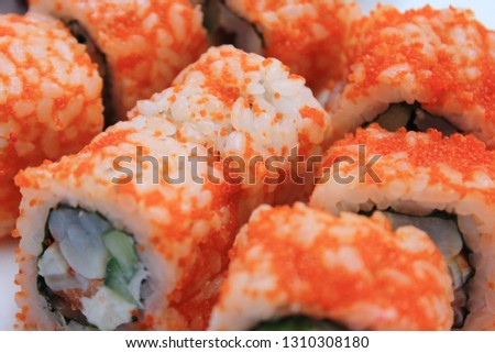 Sushi Roll on Plate Close Up View of Famous Japanese Healthy Food with Fish Products. Sushi Set with Rice and Various Seafood, Asian Traditional Roll for Lunch or Dinner Low Angle Picture