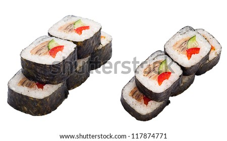 sushi roll set with eel, sweet pepper, cucumber over white