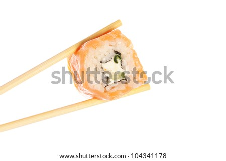 Sushi roll with chopsticks isolated on white background