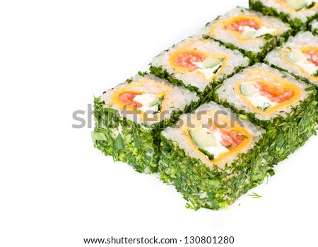 sushi roll with greens, puncakes and meat