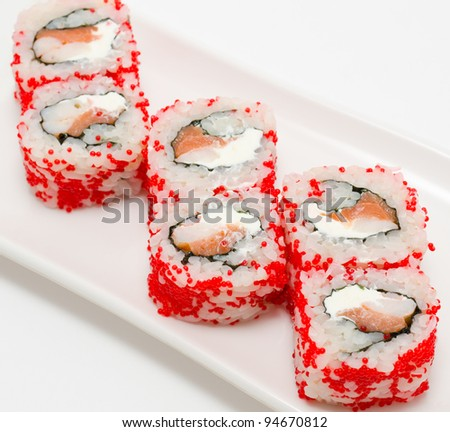 sushi rolls california with salmon and shrimps