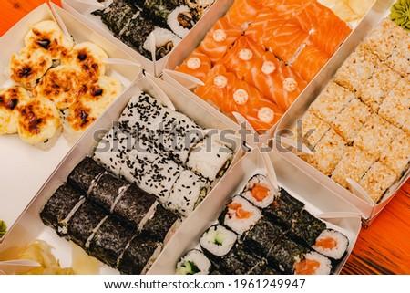 Sushi rolls, Close up. Maki sushi rolls Japanese food Rolls. japanese rice seafood meal maki