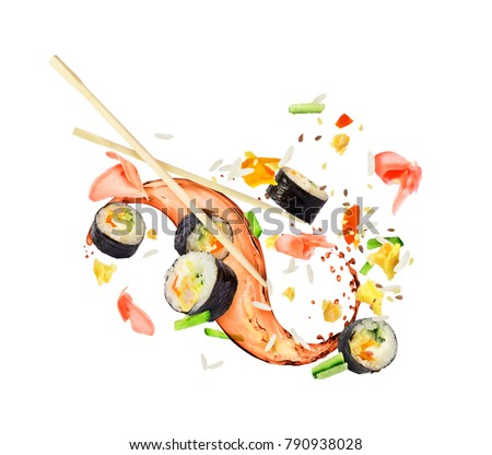 Sushi rolls frozen in the air in a chaotic order on a white background