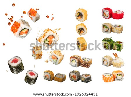 Sushi Rolls, Japanese foods, maki, makizushi on white background. Perfect for using in food commercial, menu, poster design.