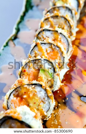 Sushi rolls on a plate.