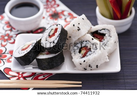Sushi rolls over the table