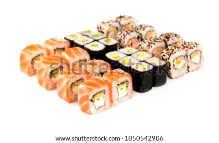 Sushi rolls set on a white background