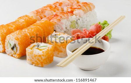 Sushi rolls, wasabi and ginger