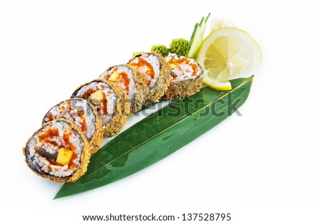 Sushi Ronin with delicious ingredients isolated on white background